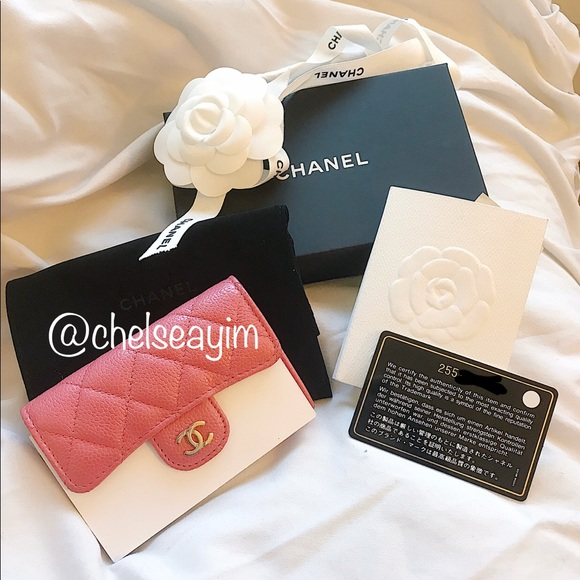 56ded50a6b2b CHANEL Accessories | Pink 18s Snap Card Casecard Holder Wallet ...